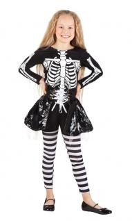Skelett Kostüm Kinder Skelettkostüm Mädchen schwarz Kleid Halloween KK