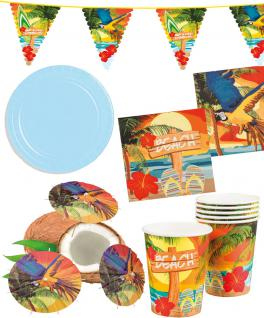 Party Set Hawaii Beach blau 33 St. :Teller, Becher, Servietten, Schirmchen, Girlande