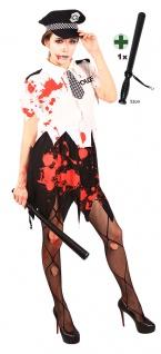 Zombie Kostüm Damen blutige Polizistin mit Polizeistock Halloween Damenkostüm KK