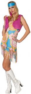 Hippie Kostüm Damen Tunika Plüschweste pink Haarband Retro 60er Jahre Fasching K