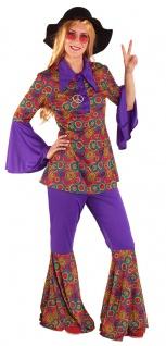 Karneval Klamotten Kostüm Hippie Anzug Retro Damen Faschingkostüm + Peace-Kette