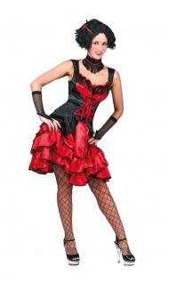 Karneval Klamotten Kostüm Sexy Can Can Dame rot Karneval Western Damenkostüm
