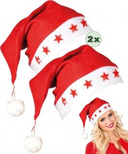 Weihnachts-Mütze Weihnachtsmann Nikolausmütze leuchtend Weihnachten 2 St. KK