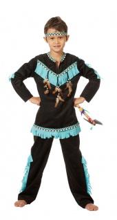 Indianer Kostum Kinder Jungen Hauptling Schwarz Karneval Fasching Kk