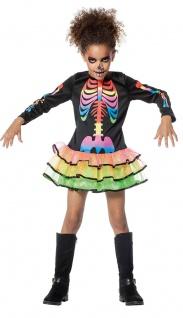 Skelett Kostüm Kinder Skelettkostüm Mädchen bunten Skelett Aufdruck Halloween KK