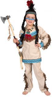 Indianer Kostüm Kinder Jungenkostüm beige blau Häuptling Karneval Fasching KK