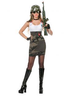 Kostüm Soldatin sexy Soldatenkostüm Damen Camouflage Kleid Militär Armee Army KK