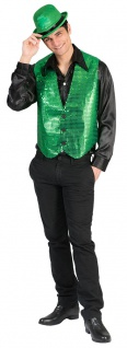 St Patricks Day Weste Pailletten grün Kostüm Herren Fasching Karneval KK