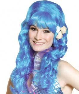 Meerjungfrau Perücke Undine Perücke blau mit Muscheln Damen-Perücke KK