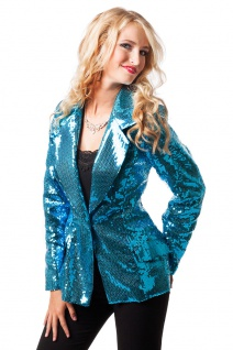 Pailletten-Jacke Disco-Jacke 70er 80er Jahre Weste türkis Karneval Damen-Kostüm
