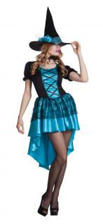 Kostüm Märchen Hexe Dame türkis Halloween Karneval Damenkostüm KK