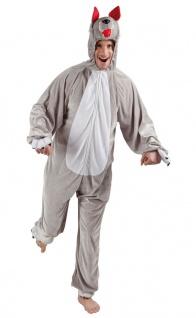 Wolf Kostüm Herren Plüsch Overall mit Kapuze Tierkostüm Fasching Karneval KK