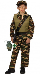 Soldat Kostüm Soldatenkostüm Kinder Junge Camouflage Miltär Granate Armee KK