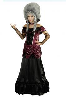 Barock Kleid Kostüm Damen Rokoko Renaissance Damen-Kostüm bordeaux schwarz lang