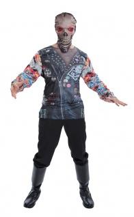 Skelett Shirt Zombie Biker Motorradfahrer Herren blutig Horror Halloweenkostüm K