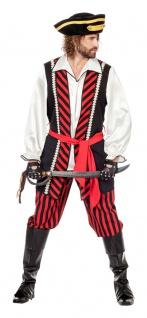 Piratenkostüm Herren Pirat Kapitän Herrenkostüm Freibeuter Seeräuber Karneval KK
