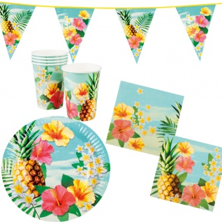 Sommer Party Deko Set Hawaii Blume 25: Teller, Becher, Servietten, Wimpelkette