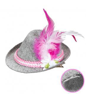 Seppl Hut Trachten Hut Bayern Hut Tiroler Hut Oktoberfest grau pink Hut klein KK