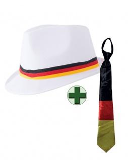 Fußball Fan-Artikel: Hut Deutschland Krawatte Germany schwarz-rot-gold WM 2018 K