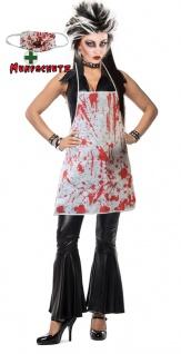 Zombie Horror Kostüm Damen blutige Schürze Halloween Mund Nasen Schutz KK