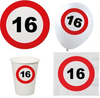 Party Set XL 44 Teile Geburtstag 16 Jahre Verkehrsschild - Vorschau