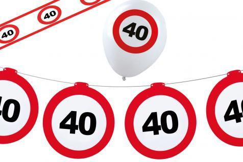 Dekoset Geburtstag Party 40 Jahre Verkehrsschild