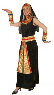 Cleopatra Kostüm Damen Ägypterin schwarz gold KK