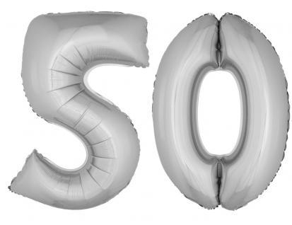 Folienballons Luftballon-SetXXL Zahl Geburtstag 50 Jahre silber Party Dekoration