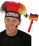 Klapperhand Fußball und Perücke Deutschland WM schwarz rot gold Fan-Artikel WM