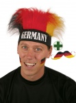 Schnurrbart WM Deutschland Fan-Schnurrbart Fußball mit Perücke schwarz rot gold
