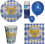 Oktoberfest Deko Party Set XL Bavaria 44 tlg blau-weiß Teller Becher, Servietten