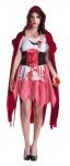 blutiges Rotkäppchen Kostüm Horror Damen-Kostüm mit Blut Zombie Halloween KK