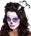Haarreif Tag der Toten La Catrina 2x Rosen schwarz Skelett Halloween KK