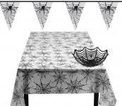 Tisch- und Raumdeko Party Halloween Spinnennetz: Tischdecke, Wimpelkette, Korb