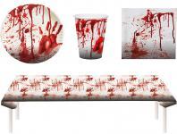 Blutiges Party Set Halloween Horror Blut 37 Teile Teller, Becher, Servietten