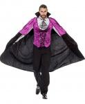 Vampir Kostüm Herren Umhang schwarz lila Luxus Graf Dracula Halloween KK