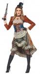 Steampunk Kostüm Damen Viktoranisch Retro Industrial Mechanisch Kleid mit Hut KK