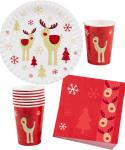 Party Set Weihnachtsservietten, Becher, Teller Luxus Rudolph Rentier 32 Teile KK