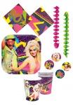 Party Set 80er Jahre Disco Party 24 Teile + 2 Deko Rotor Spiralen KK
