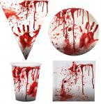 Blutiges Party Set XL Halloween Horror Blut 37 Teile Teller, Becher, Servietten