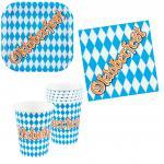 Oktoberfest Deko Party Set Bayern blau-weiß 24 Teile Teller Becher Servietten
