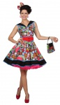50er Jahre Damen-Kostüm Kleid Rock n Roll Pop Art Kostüm Damen KK