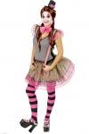 Clown Kostüm Damen Harlekin Pierrot Kleid Narren bunt mit Hut Fliege Fasching KK