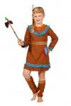 Indianer Kostüm Mädchen braun blau mit Haarband Feder Kinder-Kostüm Fasching KK