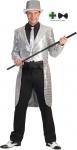 Karneval Klamotten Kostüm Herren Frack Pailletten silber mit Fliege schwarz