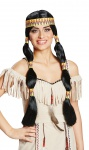 Perücke Indianerin schwarz mit Stirnband Indianer Perücke 2 Zöpfe KK