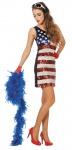 Disco Kostüm 70er Jahre Kostüm Damen Pailletten blau weiß rot USA FAsching KK