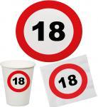 Party Set 32 Teile Geburtstag 18 Jahre Verkehrsschild