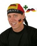 Schnurrbart WM Deutschland Fan-Schnurrbart Fußball mit Kopftuch schwarz rot gold