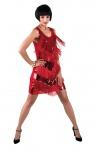Charleston Kleid 20er 30er Jahre Kostüm Damen Pailletten Fransen rot Fasching KK